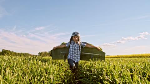 vídeos y material grabado en eventos de stock de slo mo niño en traje jet pack en un campo de trigo - cereal plant