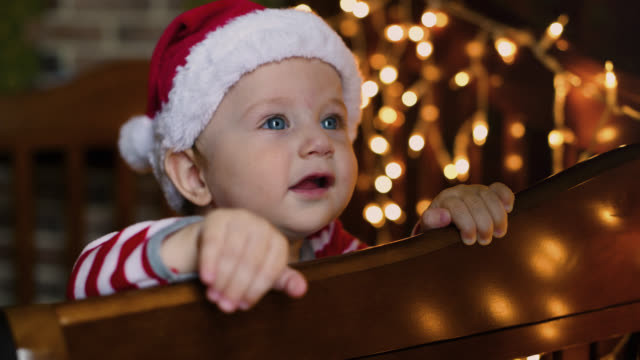 little boy in christmas - hat stock videos and b-roll footage