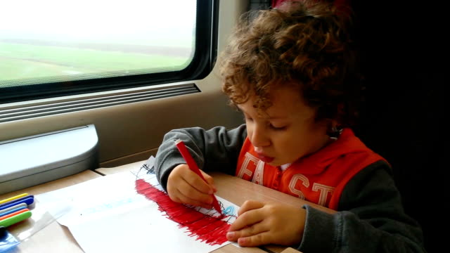 Little boy in train