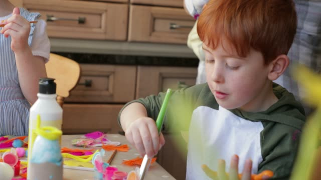little boy painting his hand - art and craft stock videos & royalty-free footage