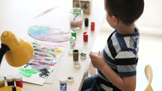 little boy painting - diy stock videos & royalty-free footage
