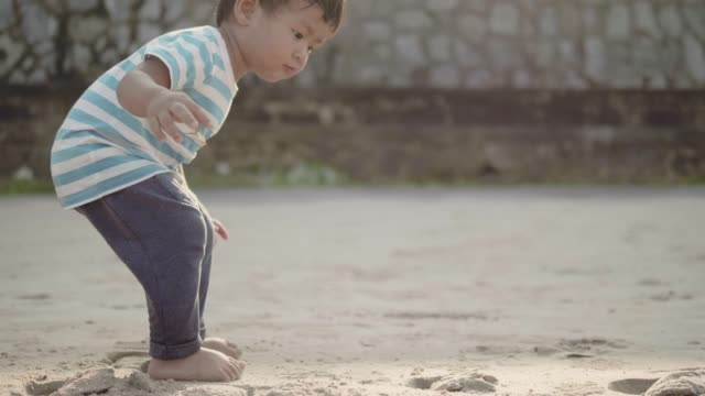 A little boy (12-23 months) playing in sand on beach