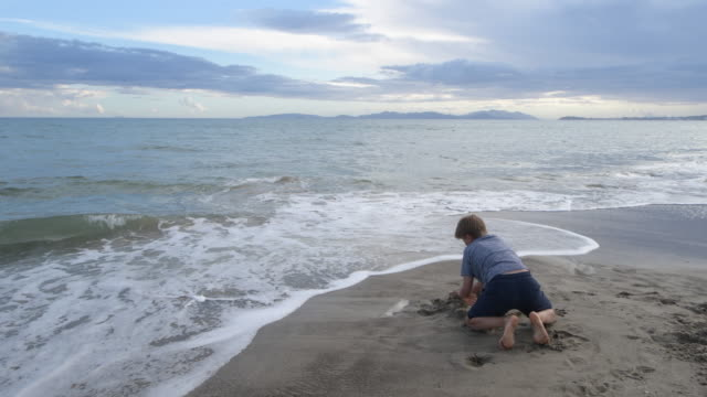 little boy playing in sand on the beach - digging stock videos & royalty-free footage