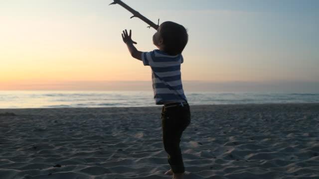 vídeos de stock, filmes e b-roll de menino que joga com vara na praia no por do sol - galho