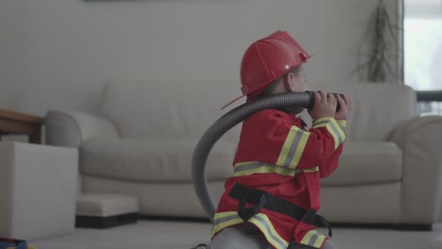 little boy pretending to be a fireman - safety stock videos & royalty-free footage