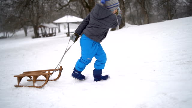 Little boy pulling sled up the hill