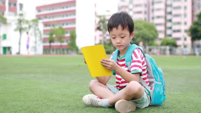 vidéos et rushes de petit garçon lisant un livre à l'école - cartable