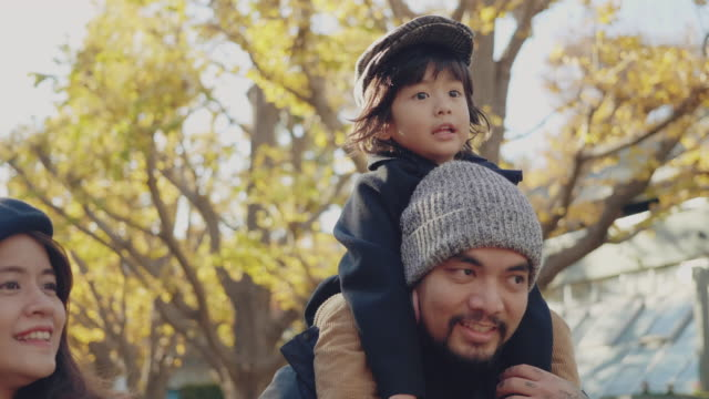 little boy riding on father's shoulders in park - holiday event stock videos & royalty-free footage