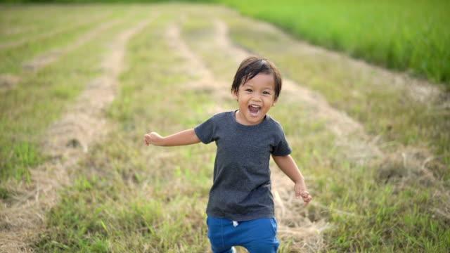 slo mo little boy running in field. - meadow stock videos & royalty-free footage