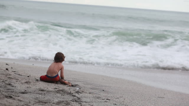 vídeos de stock, filmes e b-roll de ms little boy sitting on beach facing waves / montezuma, puntarenas, costa rica - kelly mason videos