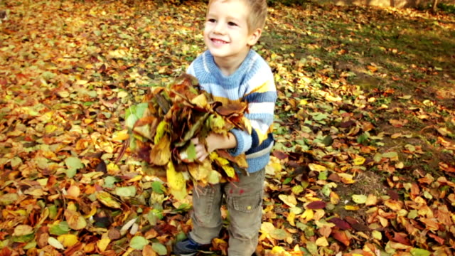 crane shot: little boy throws autumn leaves - crane shot stock videos & royalty-free footage