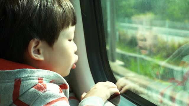 Little boy traveling in train looking outside the window.