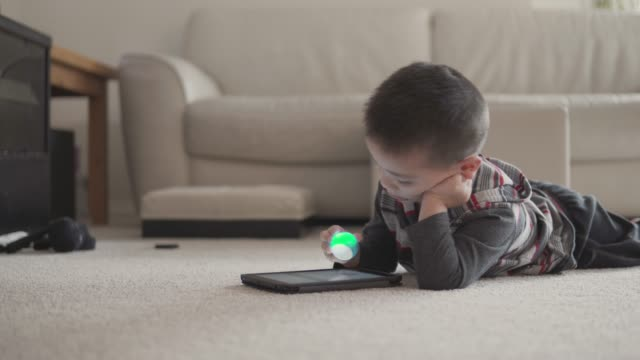 little boy using a digital tablet - new zealand culture stock videos and b-roll footage