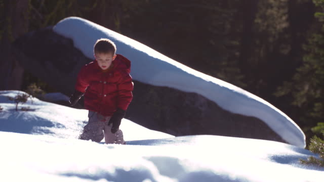 little boy walking in winter forest alone, playing in snow - mitten stock videos and b-roll footage