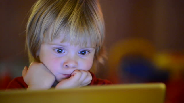 Little boy watching laptop