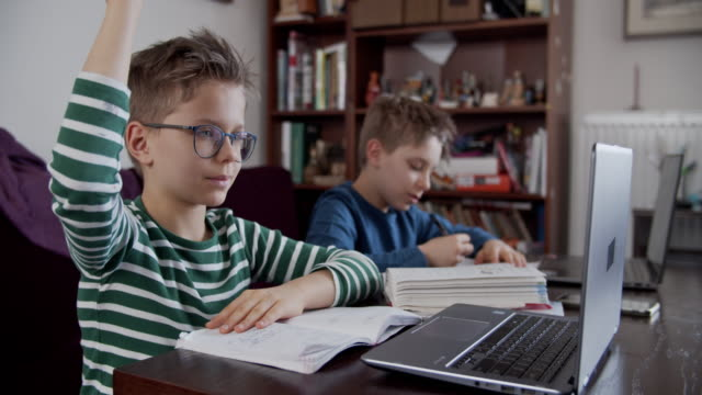 little boys attending to online school class. - insegnante video stock e b–roll