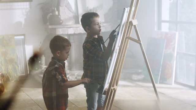 little boys painting - artist stock videos & royalty-free footage