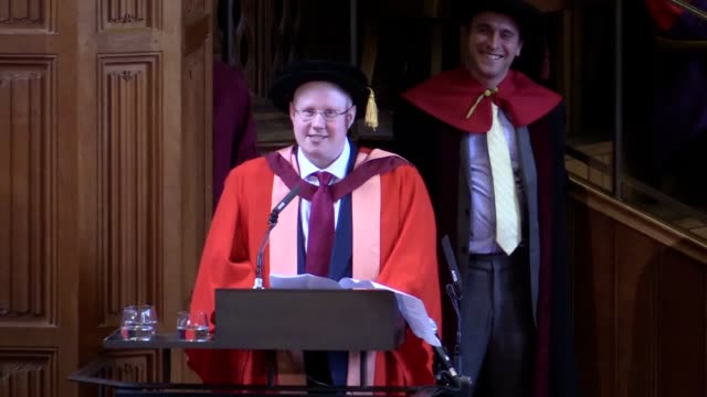 little britain star matt lucas has been awarded an honorary doctor of letters by the university of bristol which he left to pursue his acting career... - matt lucas comedian stock videos and b-roll footage