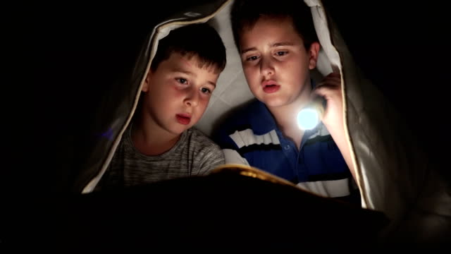 little brothers reading book with flashlight in bed - emotion stock videos & royalty-free footage
