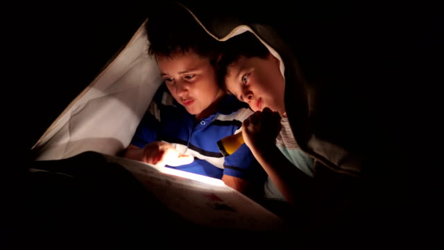 little brothers reading book with flashlight in bed - below stock videos & royalty-free footage