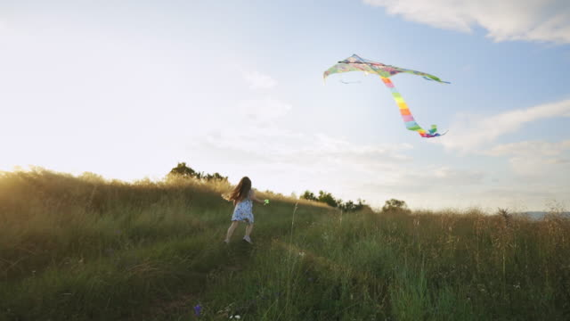 little carefree girl flying a kite - kid with kite stock videos & royalty-free footage