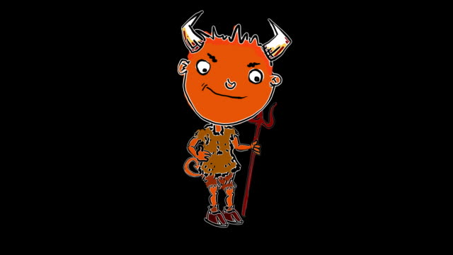 little cartoon devil appears and taps his trident - devil stock videos & royalty-free footage