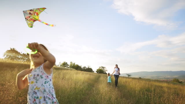little cheerful girl flying a kite - rural scene stock videos & royalty-free footage