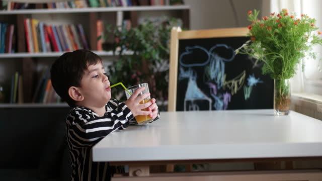 little child drinking homemade orange juice - succo d'arancia video stock e b–roll
