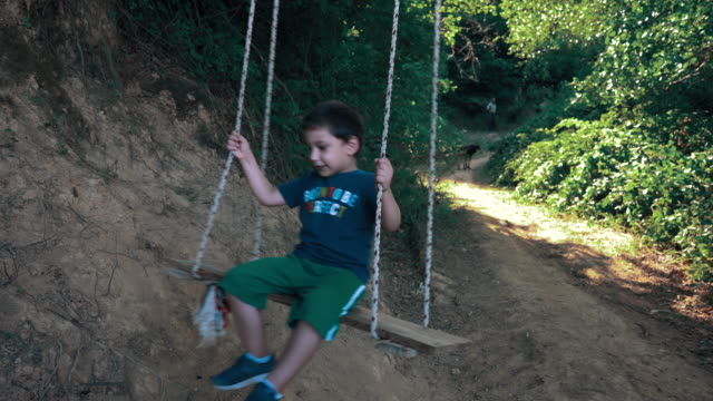 little cute boy using a swing in the forest - 4 5 years stock videos & royalty-free footage