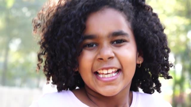 little cute girl portrait - pardo brazilian stock videos & royalty-free footage