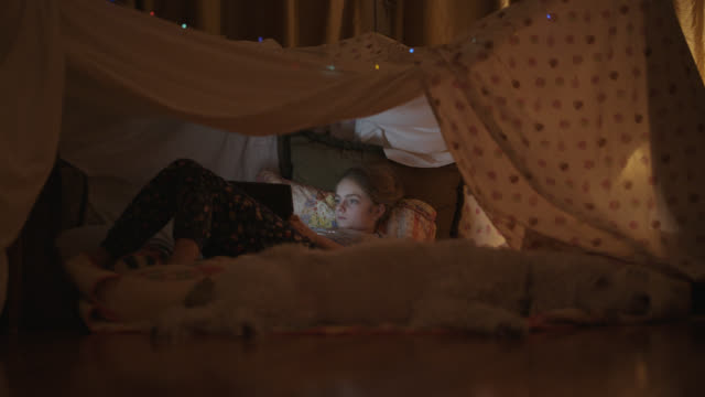 little girl and her dog laying down inside a homemade blanket tent. - leisure games stock videos & royalty-free footage