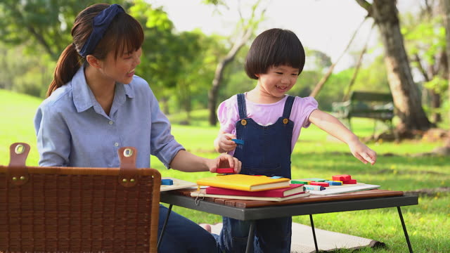 a little girl and her mother are studying or play together in the park with love and warmth or learning outside of the classroom self-learning by a single mother - self love stock videos & royalty-free footage