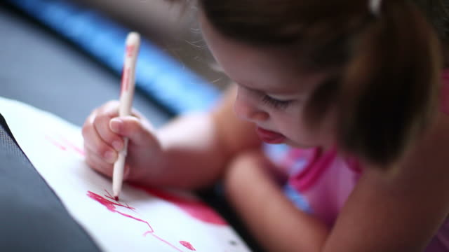 little girl coloring - coloring stock videos and b-roll footage