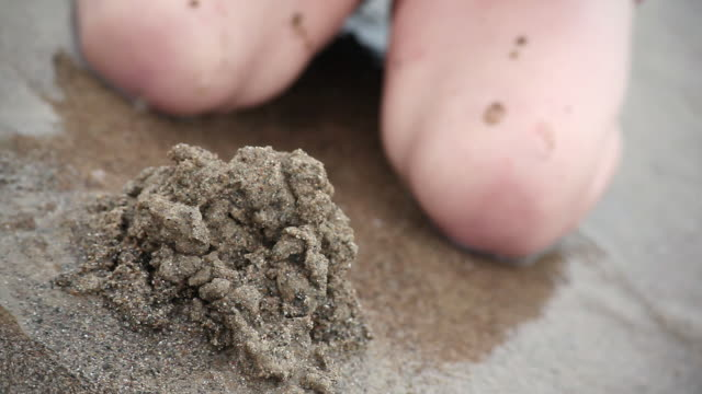 cu little girl creating pile of wet sand with bottle cap on the beach / toronto, ontario, canada - bottle cap stock videos & royalty-free footage