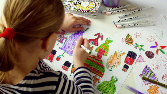 little girl drawins dresses - colored pencil stock videos and b-roll footage