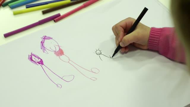 little girl draws her family - endast flickor bildbanksvideor och videomaterial från bakom kulisserna
