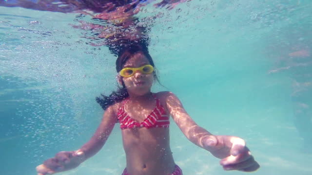 Little Girl Ducking Underwater