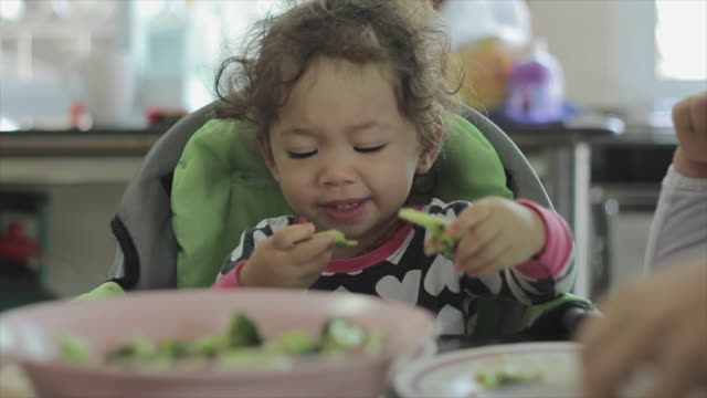 little girl eating her breakfast - broccoli stock videos & royalty-free footage