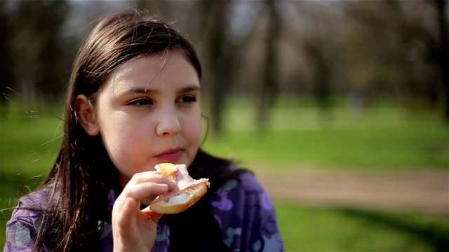 little girl eating in park - sandwich stock videos & royalty-free footage