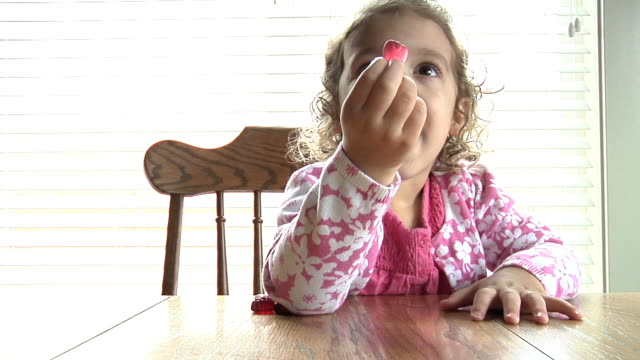 little girl eating - chair stock videos & royalty-free footage