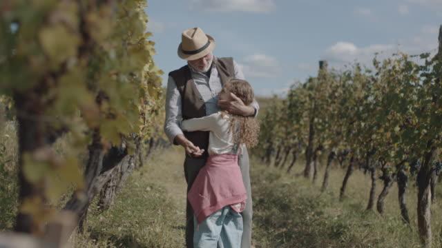 little girl embracing grandfather - nonno video stock e b–roll