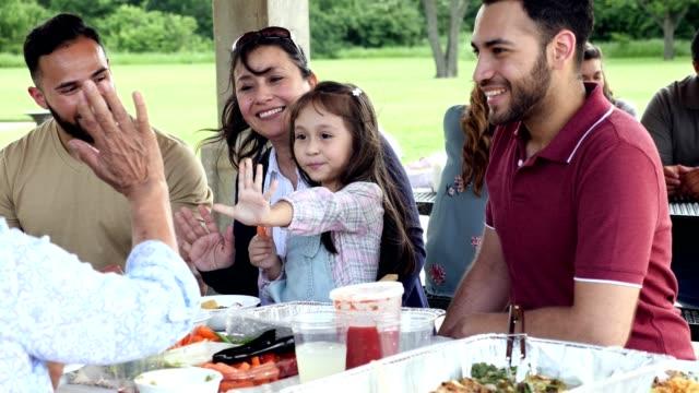 vidéos et rushes de la petite fille donne à sa grand-mère un haut cinq pendant le pique-nique - famille nombreuse