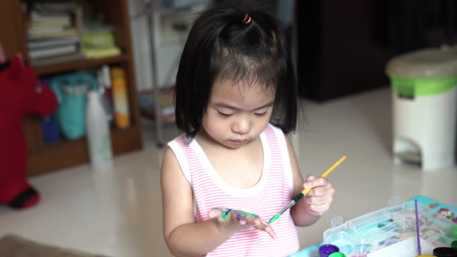 little girl hand painting finger - human face drawing stock videos & royalty-free footage