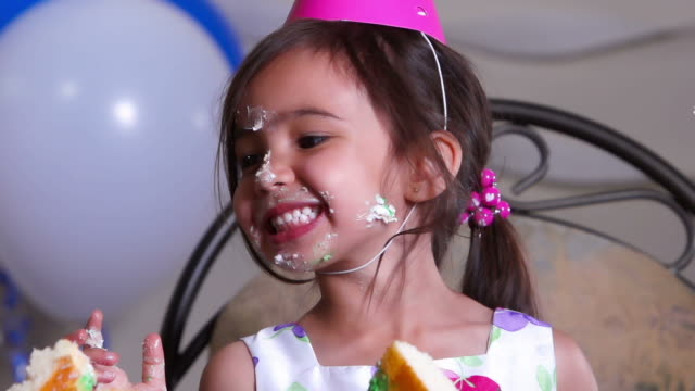 little girl has fun at birthday party - birthday stock videos & royalty-free footage