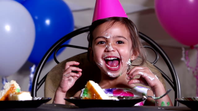 little girl has fun - birthday stock videos & royalty-free footage