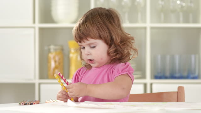 hd: little girl having fun while drawing - nursery school child stock videos & royalty-free footage