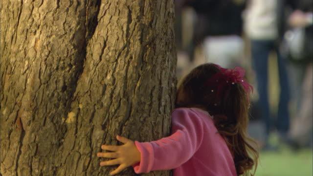 vidéos et rushes de cu little girl hiding behind tree trunk in park / paris, france - regarder à la dérobée