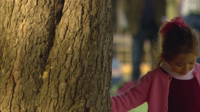 cu little girl hiding behind tree trunk in park / paris, france - hide and seek stock videos and b-roll footage