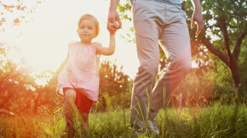 slo mo little girl holding her father's hand as they walk across a sunny orchard - part of a series stock videos & royalty-free footage
