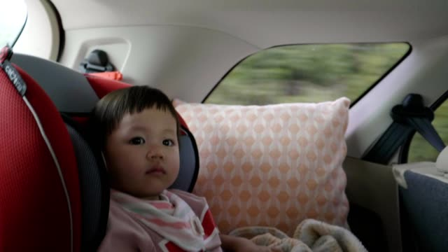 little girl(12-23 months) in a child car seat - 12 23 months stock videos & royalty-free footage
